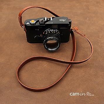 CS214 Cam-In Real Leather Shoulder Neck Camera Strap for Leica//Nikon//Sony//Fujifilm Black Color