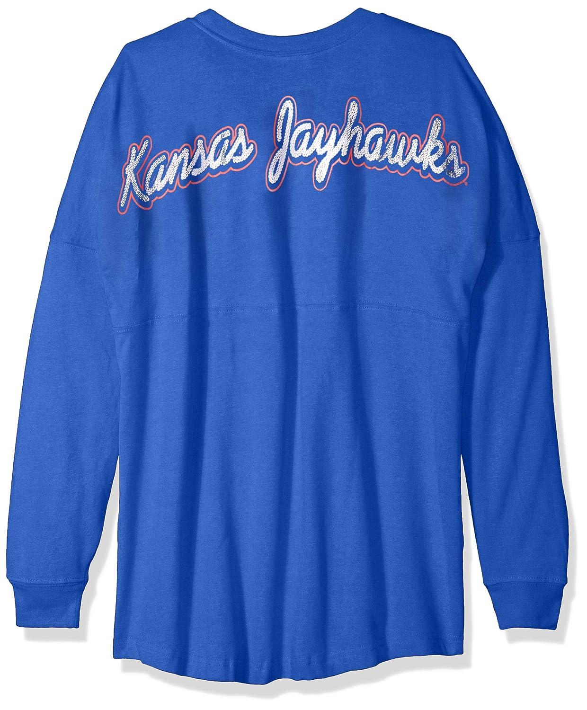 NCAA Kansas Jayhawks Womens NCAA Womens Long Sleeve Mascot Style Teeknights Apparel NCAA Womens Long Sleeve Mascot Style Tee New Royal X-Small