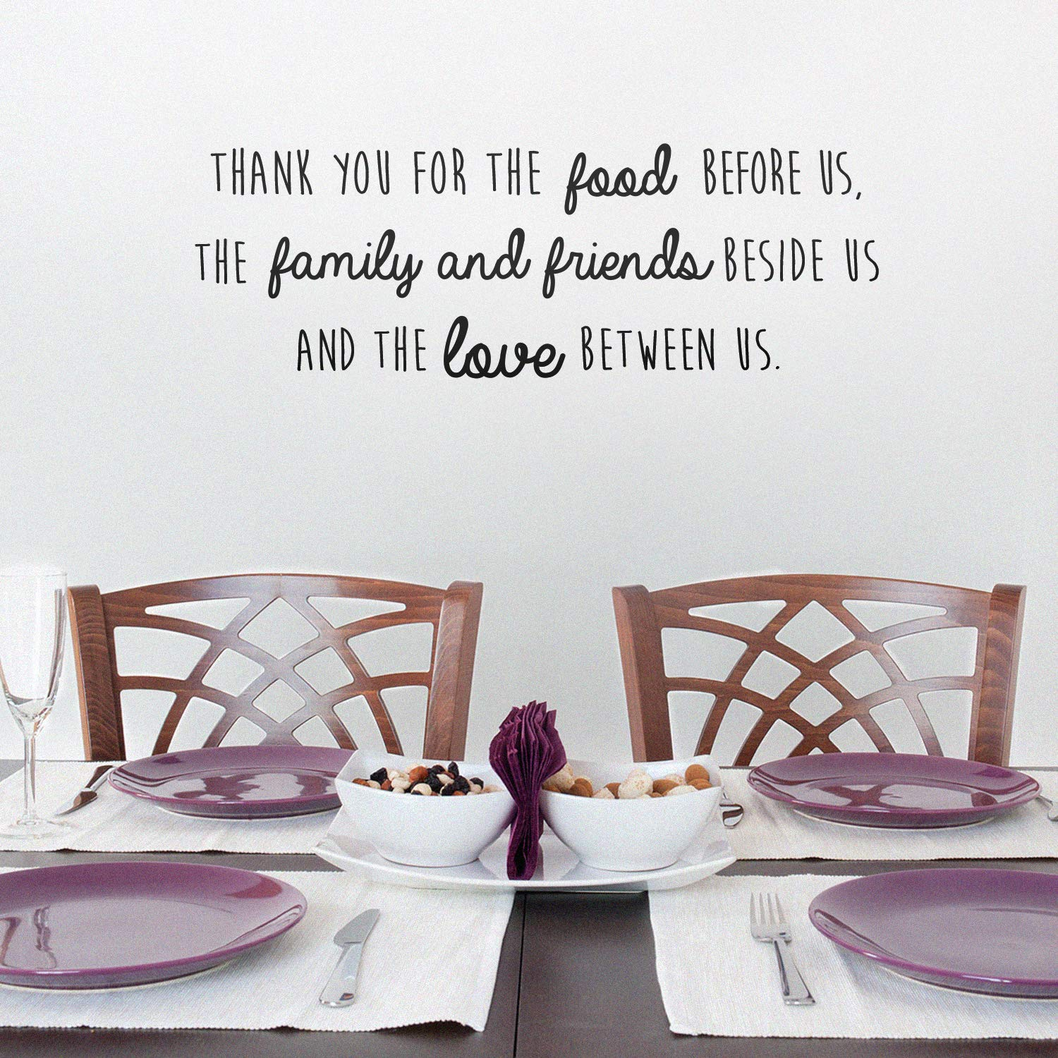 """Vinyl Wall Art Decal - Thank You for The Food Before Us The Family and Friends Beside US - 10"""" x 27"""" - Prayer Quotes Home Bedroom Apartment Living Room Kitchen Dining Room Decor (10"""" x 27"""", Black)"""