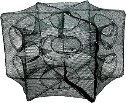 6~16 Holes Automatic Fishing Net Shrimp Cage Nylon Foldable Crab Fish Trap Cast
