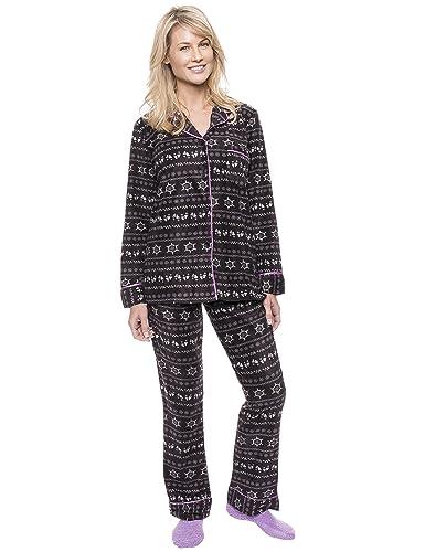 Noble Mount Conjunto Pijama de Polar Micro Fleece para Mujer - Nordico Hierro/Lila - XL: Amazon.es: Ropa y accesorios