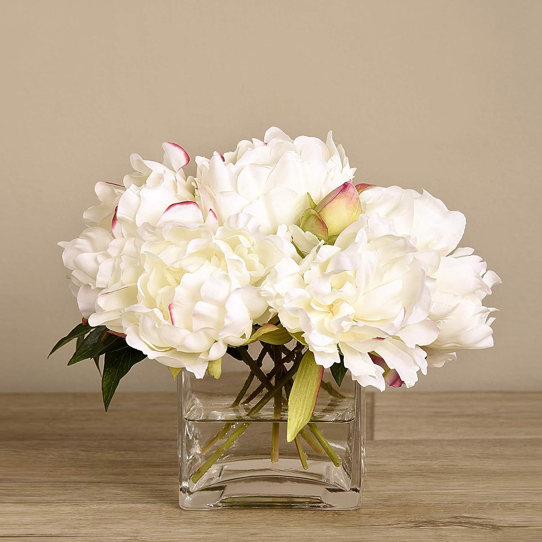 "BLOOMR Artificial Glass Potted White Hydrangea Peony Flower Arrangement, Trendy Luxury Silk Fabric Decorative Indoor Faux Hydrangea Peony Flower Arrangement, 7.8"" tall, 2.6 lbs, 5522-10-1"