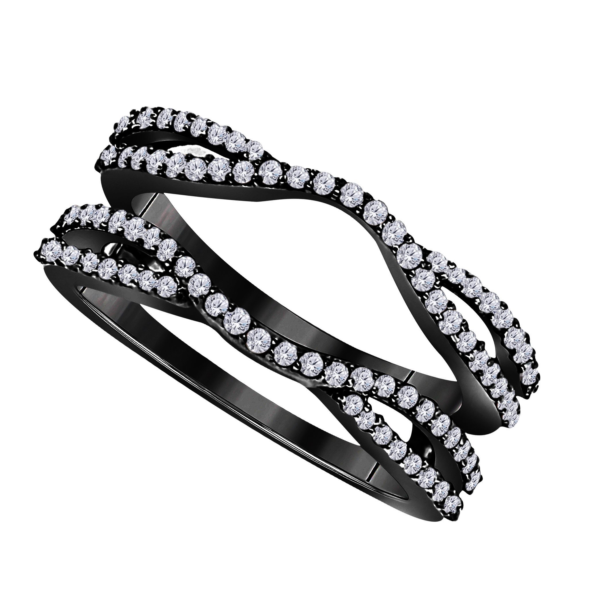 Star Retail 1/2 Ct Black Rhodium Finish Round Cut Cubic Zirconia Ladies Anniversary Wedding Band Enhancer Guard Double Chevron Ring