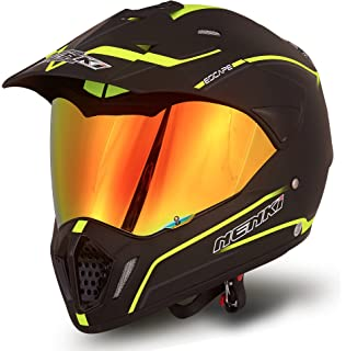 NENKI Dual Sport Enduro Motocross & Motorcycle Helmet NK-310 Dot Approved With Iridium Red