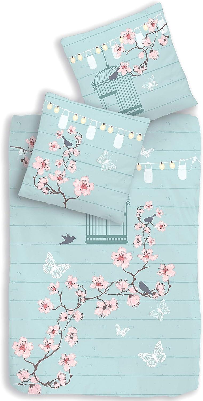 termana Juego de ropa de cama para niña, diseño de jaula de pájaros, mariposas y flores, funda de almohada de 80 x 80 cm, funda nórdica de 135 x 200 cm, 100% algodón