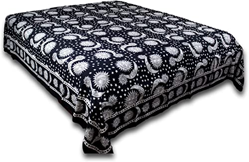 India Arts Handmade 100 Cotton Celestial Sun Moon Star Tapestry Coverlet Black White Twin