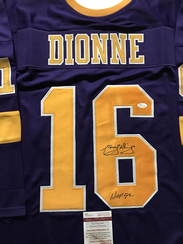 Autographed/Signed Marcel Dionne'HOF 92' Los Angeles LA Purple Hockey Jersey JSA COA
