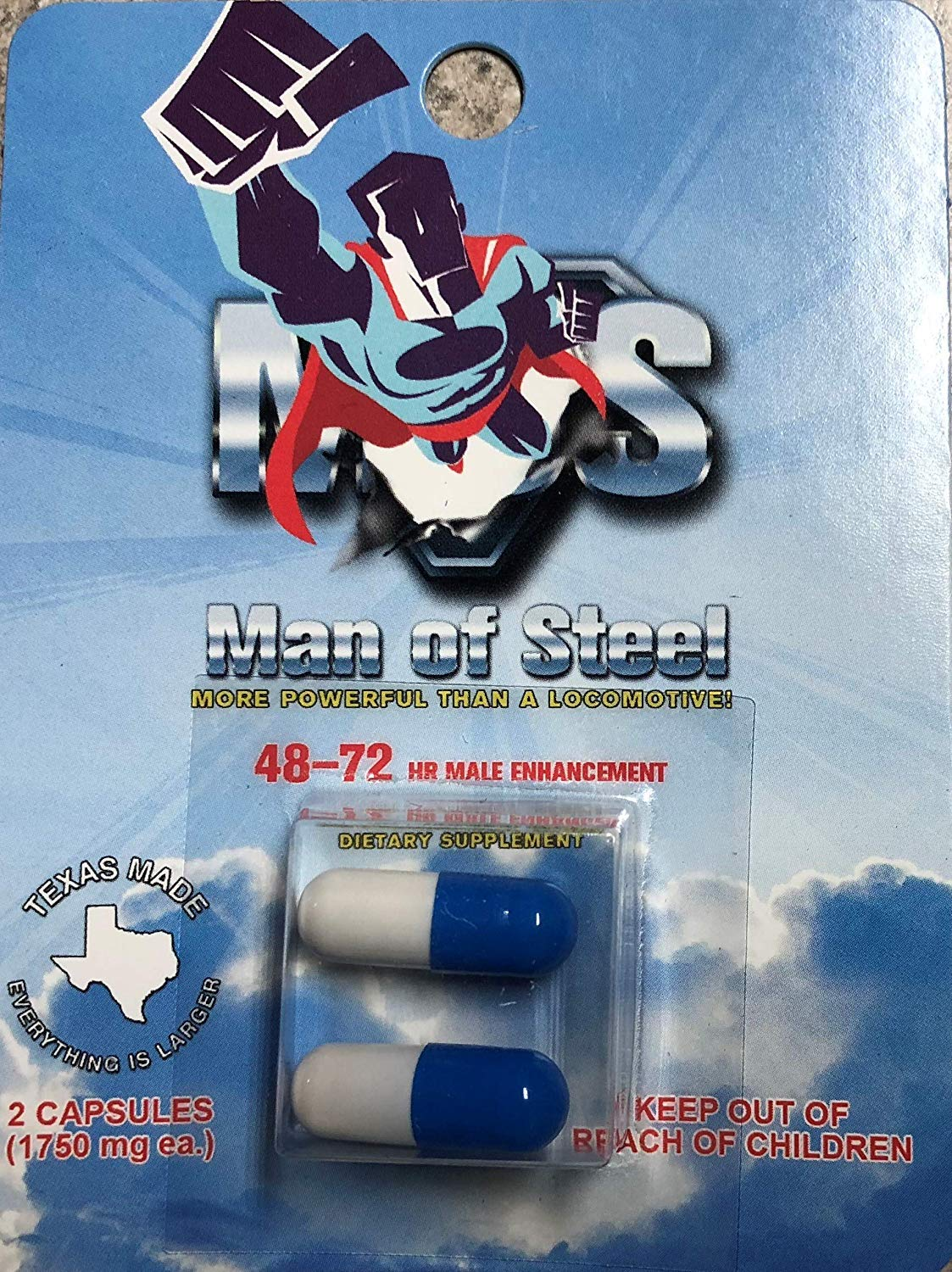 Man of Steels Don Juan ME-72 HR Extreme - 20 Male Enhancement Pills - Texas Made