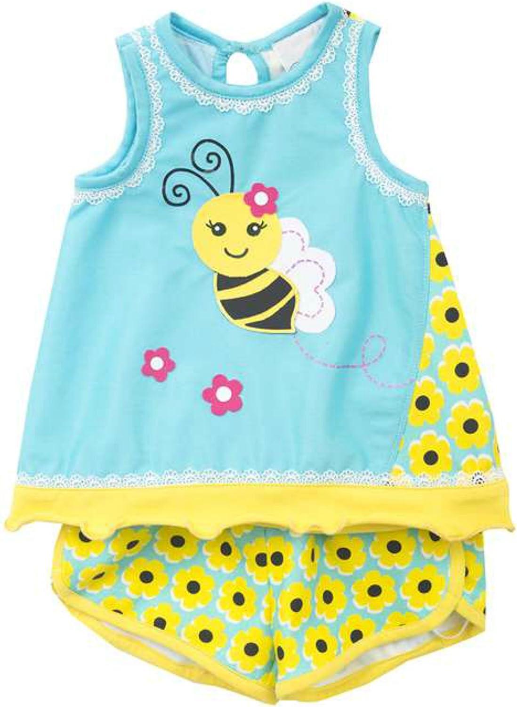 Rare Editions Bumble Bee Top and Daisy Print Shorts Set