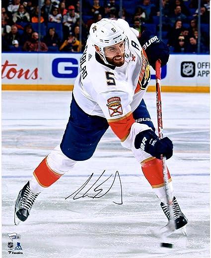 Aaron Ekblad Florida Panthers Autographed 16 quot  x 20 quot  White Jersey  Shooting Photograph - Fanatics 4382ce39f
