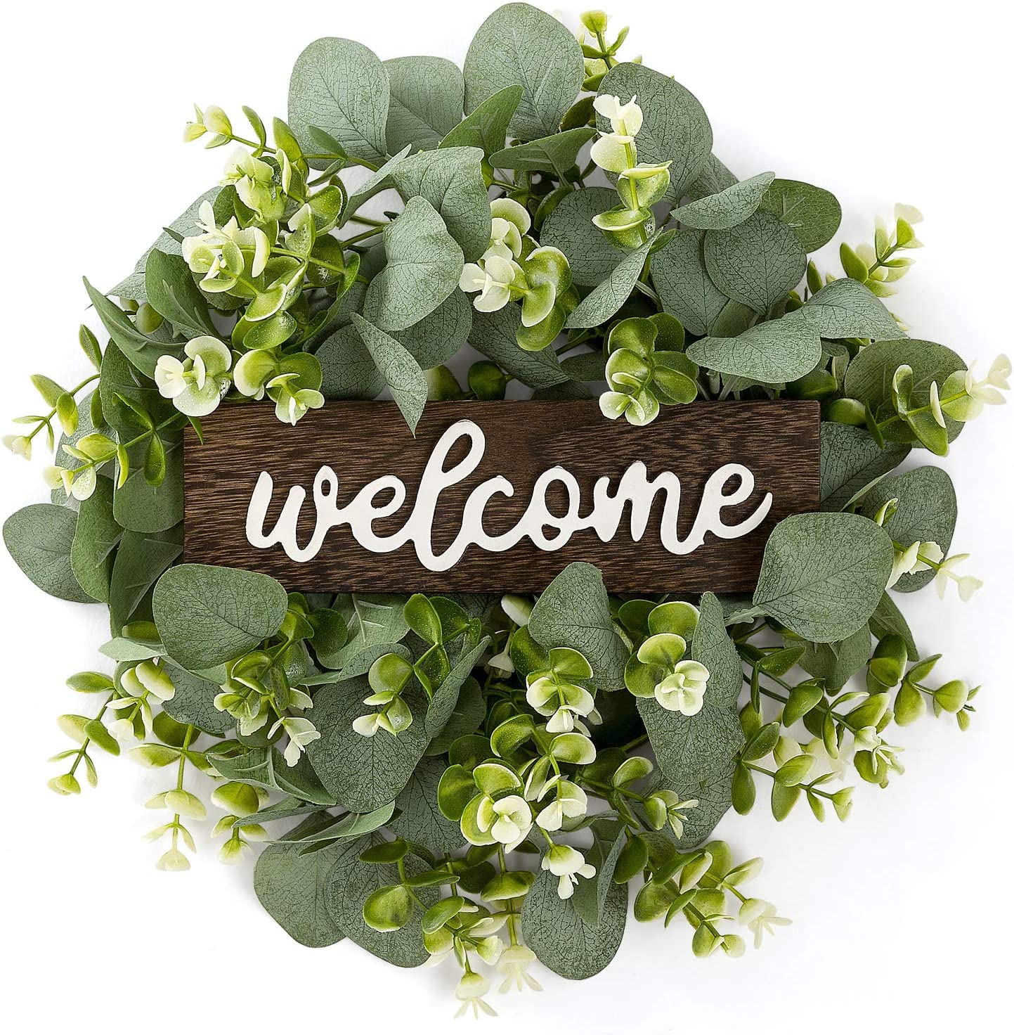 Dahey Welcome Sign with Wreaths Rustic Front Door Decor Wood Hanging Sign with Artificial Eucalyptus 13inch Farmhouse Porch Decorations for Home Wedding Thanksgiving Christmas, Small