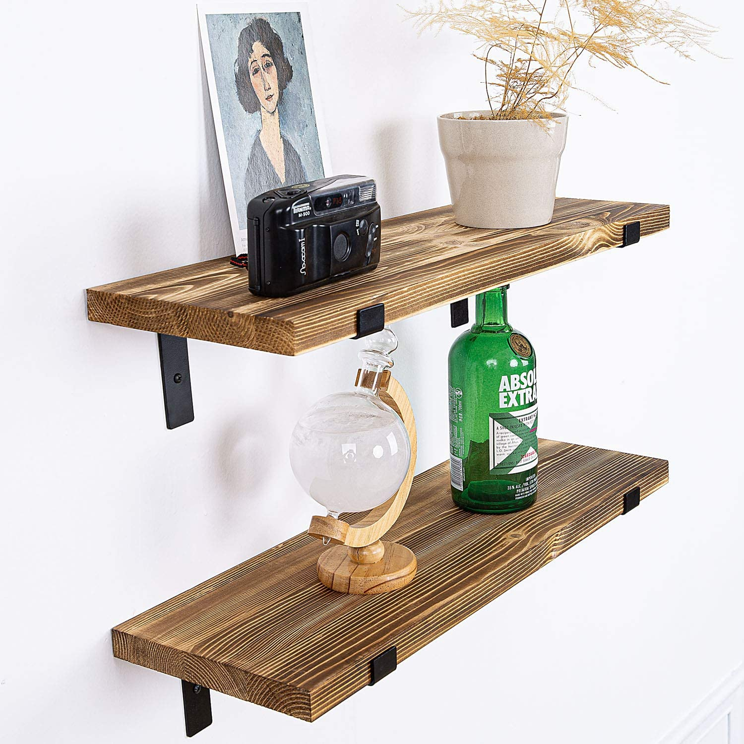 AZSKY Wall Mounted Floating Shelves Set of 2, Small Bookshelf Unit for Living Room, Office, and Bedroom, Rustic Wood Wall Decor with Metal Floating Shelf Bracket 24IN