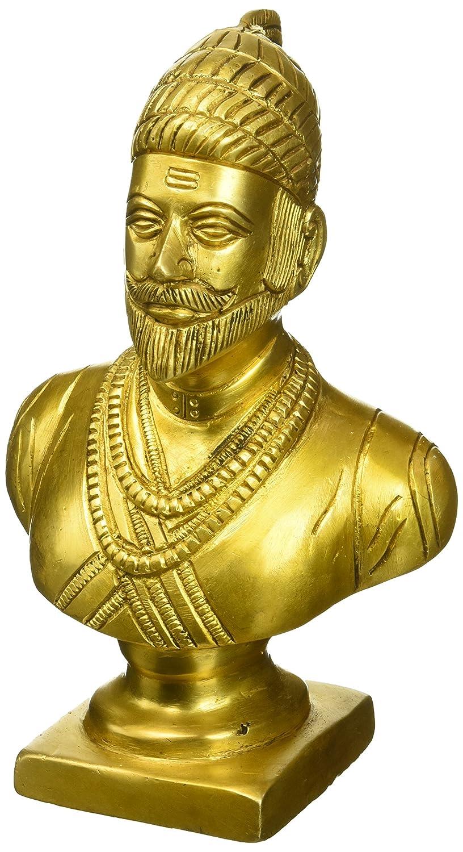 Kapasi Handicrafts Brass Chhatrapati Shivaji Bust Idol L4 x W2.75 x H6.25 inch