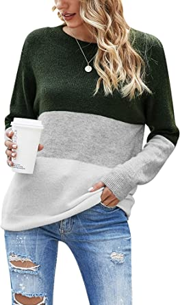 Woolen Bloom Jersey Punto Mujer Suéter Suelto Bloque de Color Informal Camisa Cuello Redondo Rayas Ligeras Manga Larga Camisetas Tops Pull-Over Suéter Mujer Primavera Otoño Invierno: Amazon.es: Ropa y accesorios