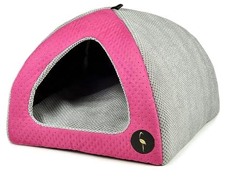 Lauren Diseño Perros Cueva Casa Bella 50 cm x 50 cm Color Rosa Acolchada/Gris