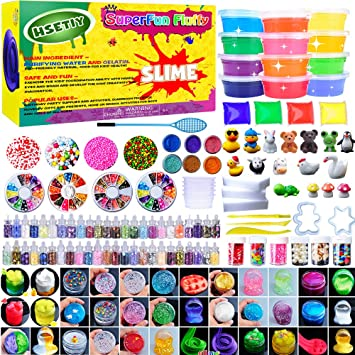 HSETIY Super Slime Kit Supplies-12 Crystal Clear Slimes with 54 ...