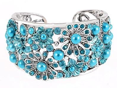 Alilang Silver Aquamarine Turquoise Color Crystal Rhinestone Floral Flower Cuff  Bangle Bracelet 55b89e60bff8