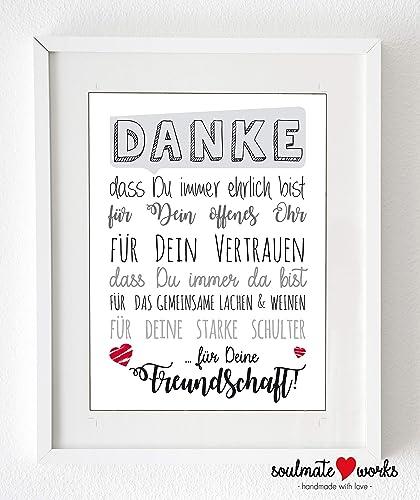 Kunstdruck Fur Deine Beste Freundin Danke Fur Deine Freundschaft
