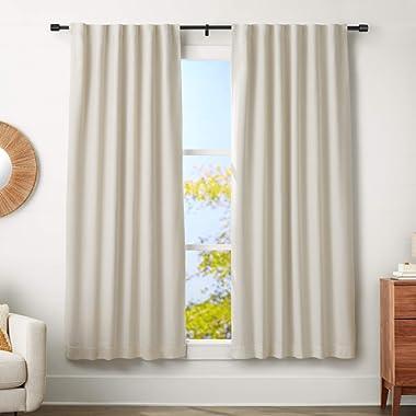 AmazonBasics 1  Wall Curtain Rod with Cap Finials - 72  to 144 , Black