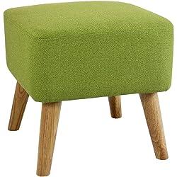 Pouf repose-pieds design scandinave LUPIO vert 40x40