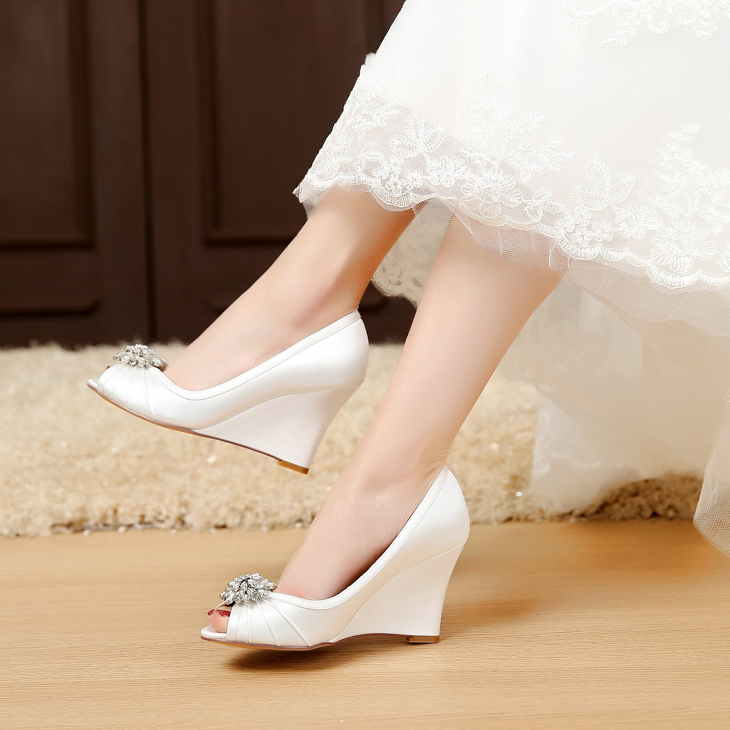 10f9719ca94 ... LUXVEER Ivory Wedding Wedding Wedding Wedges with Silver Rhinestone  Brooch