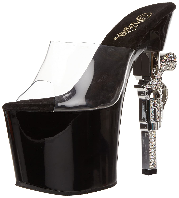 Pleaser Women's Revolver-701 Platform Sandal B0091ISTL4 5 B(M) US|Clear/Black