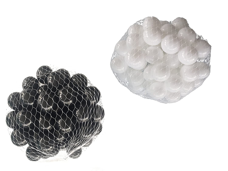 1000 Bälle für Bällebad gemischt mix mit weiß und schwarz schwarz und 129050