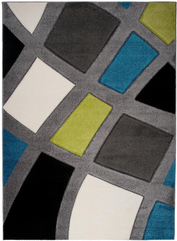 Tapiso Sumatra Teppich Kurzflor 3D Effekt Grau Mehrfarbig Modern Karo Linien Muster Jugendzimmer Wohnzimmer Schlafzimmer ÖKOTEX 200 x 290 cm