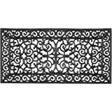 """A1 Home Collections RI2002 Rubber Paisley, Beautifully Hand Finished, Doormat, 23.62"""" X 47.25"""", Black Estate"""