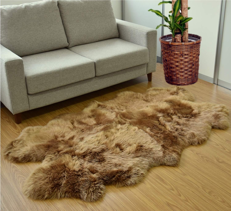 ボーマ(BOMA) ムートンラグ ブラウン 約100×170cm ニュージーランド原皮使用 ムートン長毛ラグ 4匹 629321BO   B07HFLTMWZ