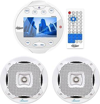 "5.25/"" Water Resistant 2 Way White Speakers Lanzar Marine Bluetooth Receiver"
