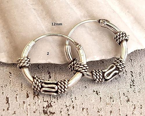 Brand  New  !! Pair Of Sterling Silver  Bali Ringed Hoop Earrings  12  mm  !