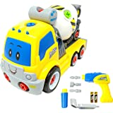 Take Apart Toy Cement Mixer Truck TG650 – Take-Apart Cement Mixer Boys Toy with Working Drill & Moving Parts – Toddler Toy For Boys & Girls Aged 3, 4, 5, 6 - By ThinkGizmos (Trademark Protected)