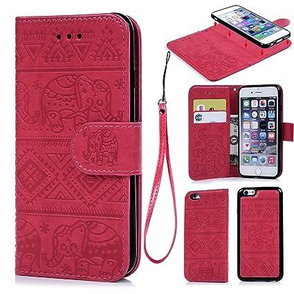 Funda iPhone 6/iPhone 6s, Carcasa Libro de Cuero Impresión de Tribal del Elefante PU Premium y TPU Funda Interna (2 en 1, Separable), Flip Wallet Case ...