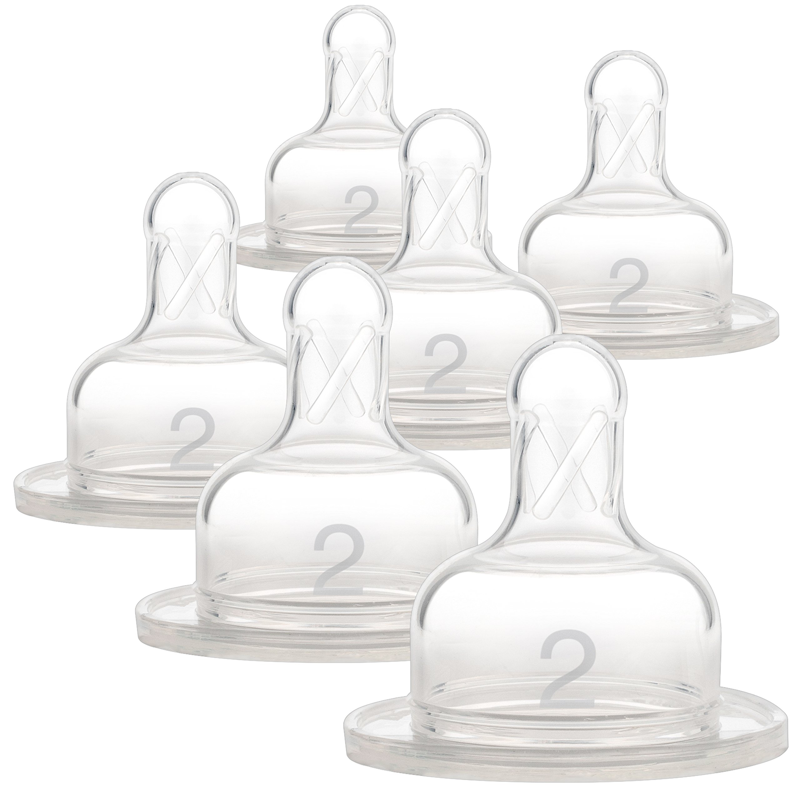 Dr. Brown's Original Wide-Neck Nipple, Level 2 (3m+), 6-Pack by Dr. Brown's