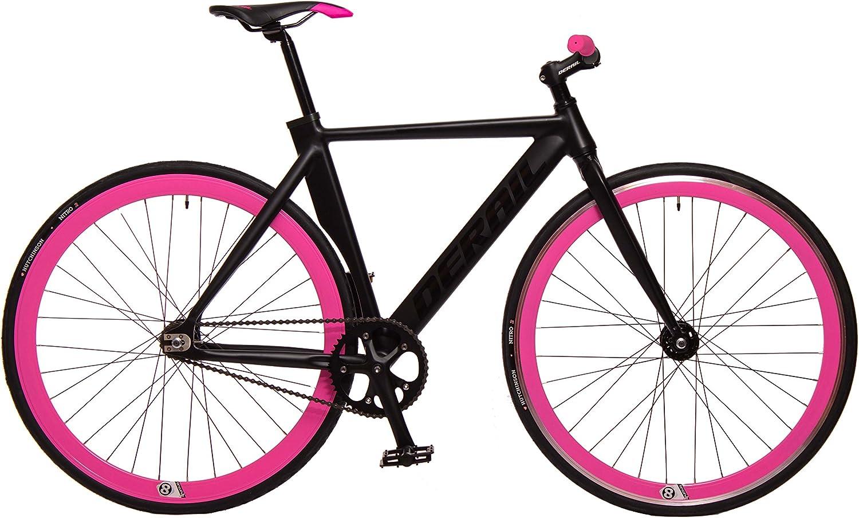 Kamikaze Bicicleta Fixie Aluminio derail rd42 M 52 Negra/Rosa ...