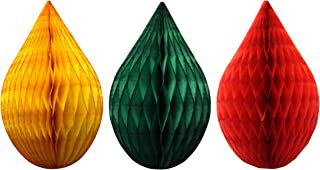 product image for 3-Pack 5 Inch Mini Rain Drop Honeycomb Ornament Decoration (Christmas Mix - Red, Gold, Dark Green)