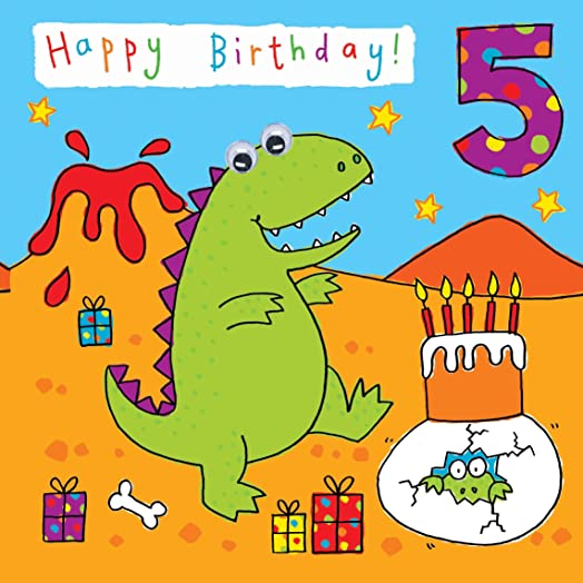Twizler 5th Birthday Card for Child with Dinosaur Party and Hand – Boy Birthday Cards