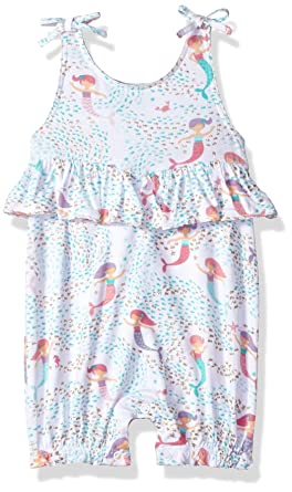 3a92d8d84a30 Amazon.com  Mud Pie Baby Girls Mermaid Sleeveless Bubble Romper ...