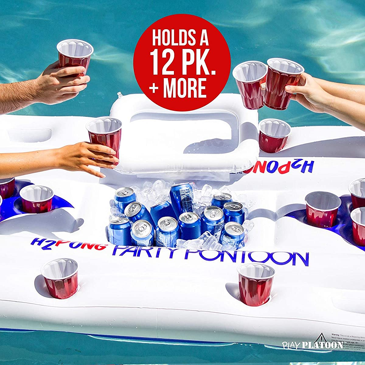 Play Platoon H2PONG Inflatable Beer Pong Table with Built in Cooler, Includes 5 Ping Pong Balls - Floating Pool Party Game Raft and Lounge