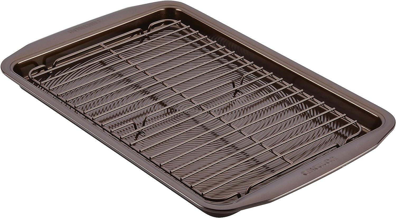 Circulon 47186 Nonstick Bakeware Set with Nonstick Cookie Sheet / Baking Sheet and Cooling Rack - 2 Piece, Chocolate Brown