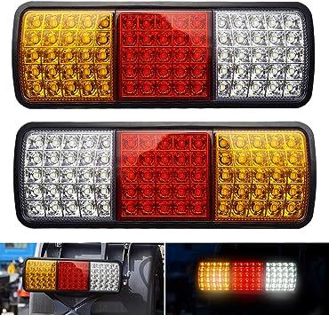 12V 75-LED Truck Trailer Boat Waterproof Rear Tail Brake Reverse Taillight Indicator Lamp 2Pcs LED Tail Light