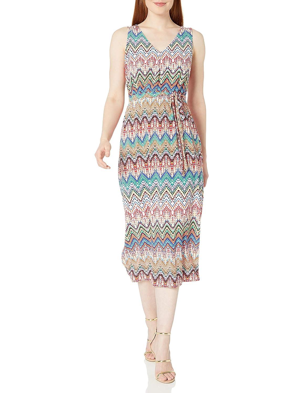 Nine West Womens Sleeveless Midi Dress, Mango Multi, 16: Amazon ...