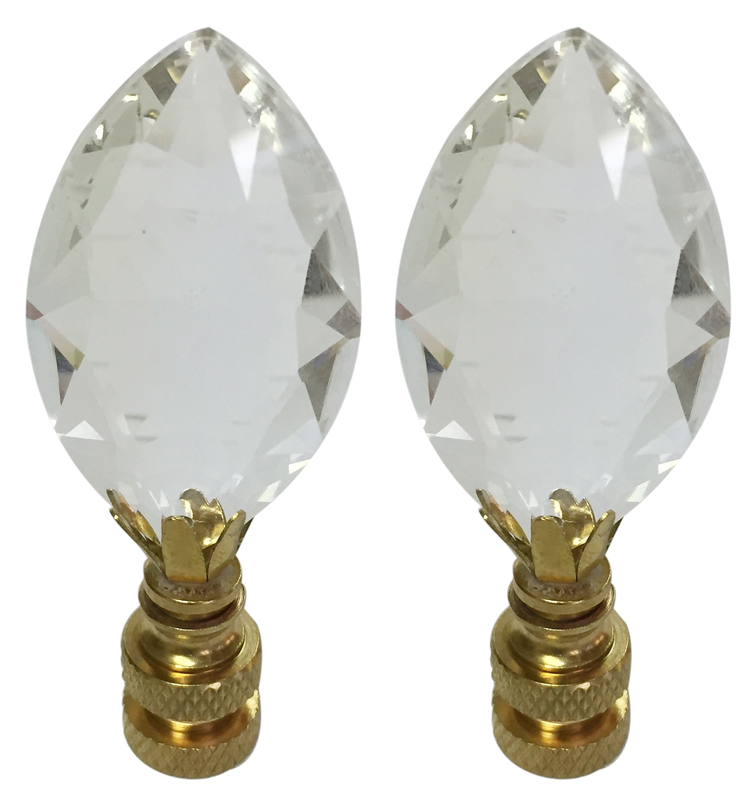 Royal Designs CCF2010-PB-2 Pear Shaped Clear K9 Crystal Finial for Lamp Shade with Polished Brass Base Set of 2, 2 Piece