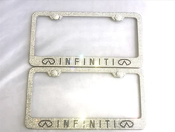 NEW Luxury CrystaI Ice Out Logo License Plate Holder Cover Frame For Infiniti