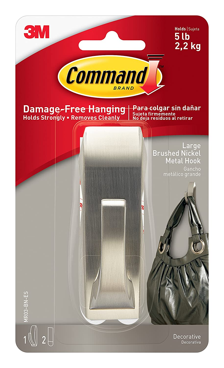 Command Modern Reflections Metal Hook Large Brushed Nickel 1 Hook MR03 BN ES