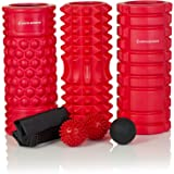 "Foam Roller Set – 13"" High Density Foam Massage Roller, Lacrosse Massage Ball, Spiky Peanut Ball, Carry Bag and E-Book Manual"