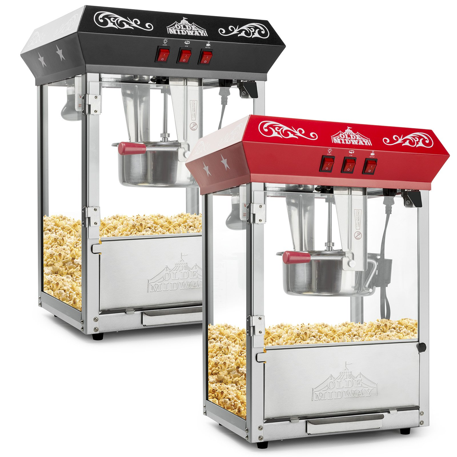 Olde Midway Bar Style Popcorn Machine Maker Popper with 8-Ounce Kettle - Red