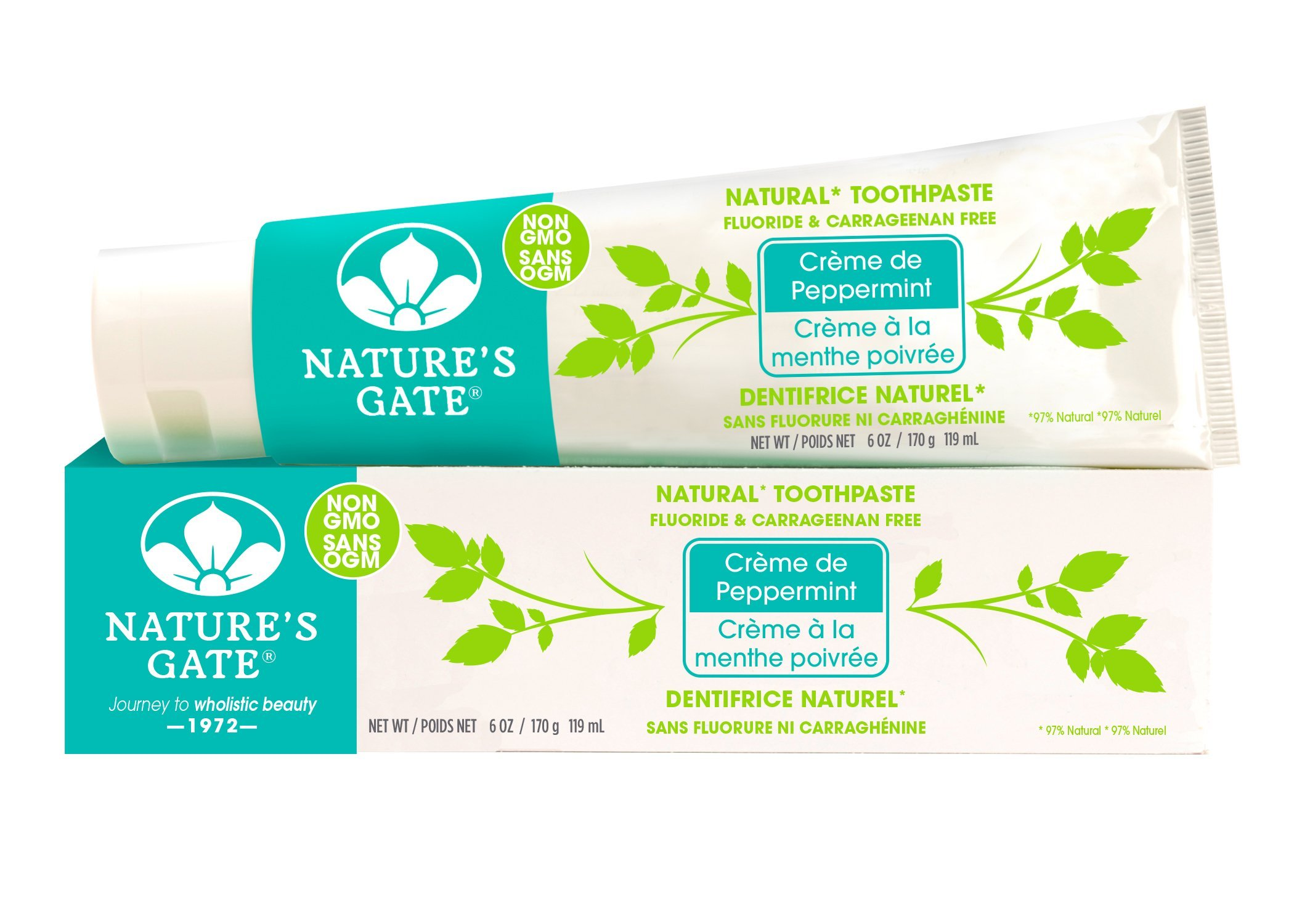 Nature's Gate Natural Toothpaste, Creme de Peppermint, Fluoride Free, Vitamin C; Vegan, Non GMO, Carageenan Free, Gluten Free, Soy Free, Paraben Free, Cruelty Free, 6 Ounce Recyclable Tube (Pack of 6) by Nature's Gate