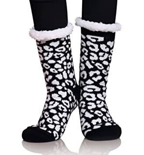 d0df460a57e MIUBEAR Womens Thermal Slipper Socks Sherpa Lined Nonskid Fuzzy Cozy Winter  Socks